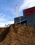 Bio central eléctrica con almacenaje del combustible de madera Foto de archivo libre de regalías