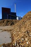 Bio central energética com armazenamento do combustível de madeira Imagens de Stock Royalty Free