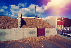 bio- centrale elettrica con stoccaggio della biomassa di legno del combustibile fotografia stock