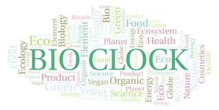 Bio Clock word cloud. Wordcloud made with text only royalty free illustration