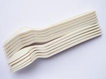 Bio colheres e forquilhas plásticas Fotografia de Stock