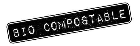 Bio Compostable rubber stamp. Grunge design with dust scratches. Effects can be easily removed for a clean, crisp look. Color is easily changed Royalty Free Stock Images