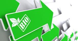 BIO concept sur la flèche verte. illustration stock
