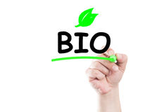 Bio. Concept text write on transparent wipe board by hand holding a marker Royalty Free Stock Image