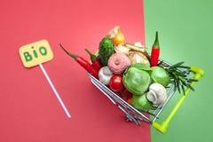 Bio- concetto dell'alimento biologico di salute, carrello in supermercato in pieno della frutta e verdure, fotografia stock libera da diritti