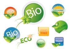 Bio conjunto de escritura de la etiqueta libre orgánico del gmo Fotografía de archivo