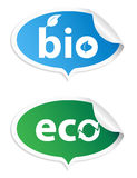 Bio conjunto natural de la etiqueta engomada Fotografía de archivo