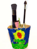 Bio cosmetics, makeup,Beauty and Health. Pink eye shadow, blush brush for shading on the face, cardboard bucket, green sprouts Royalty Free Stock Images