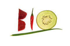 Bio - creative writing. Bio writing made from fruit and vegetable Royalty Free Stock Image