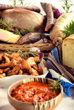 Bio cured meat platter of traditional pork meats and other tradi. Cured meat platter of traditional pork meats and other traditional food Royalty Free Stock Photography