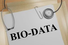 BIO-DATA - genetic concept. 3D illustration of BIO-DATA title on a medical document Stock Photography