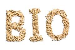 Bio de mot fait de boulettes en bois Images stock