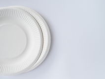 Bio degradable plate on white background Royalty Free Stock Photography