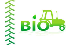Bio design. With tractor and tire trace Stock Image
