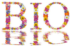Bio design. Isolated words BIO created from the flowers is a reflection in water Stock Image