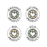 Bio- distintivo dell'etichetta dell'ingrediente con la foglia, terra, concetto verde Immagini Stock Libere da Diritti