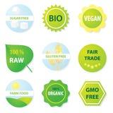 Bio e etiquetas saudáveis do alimento ilustração do vetor