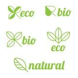 Bio e naturais etiquetas de Eco, ilustração stock