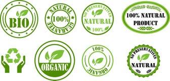 Bio e selos orgânicos Imagens de Stock
