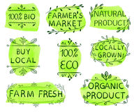 100 bio, eco, buy local, farmer`s market, natural product, locally grown, farm fresh, organic product. Set of hand drawn. VECTOR icons on dark green watercolor Stock Photo