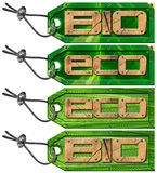 Bio Eco Green Tags - 4 items Stock Photography