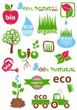 Bio and eco icons. Set of colorful bio and eco icons and symbols Royalty Free Stock Photos
