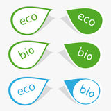 Bio and eco label. Set of labels with word bio and eco Stock Photo