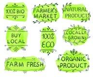 100 bio-, eco, locale dell'affare, mercato del ` s dell'agricoltore, prodotto naturale, coltivato sul posto, azienda agricola fre Fotografia Stock