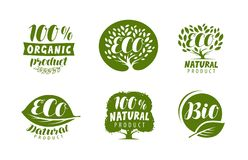 Bio, eco logo or label. Natural, organic product, vector badges set. Bio, eco logo or label. natural, organic product vector Stock Illustration