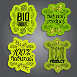 Bio, eco, natural design template. Set of labels, logo, floral elements, logotypes set Royalty Free Stock Photography