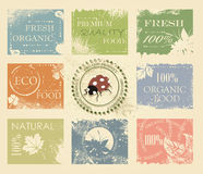 BIO, ECO, ORGANIC Labels Collection. Natural product sign set, vintage design Royalty Free Stock Photo