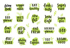 Bio, eco, organic logos set. Vector labels, emblems, stickers, stamps design. Ecology healthy eating logo for raw cafe, vegan menu, gluten free food, fresh Stock Photography