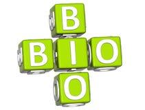 Bio-Eco Text 3D auf weißem Hintergrund Stockfotografie