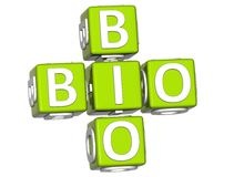 bio Eco texte de 3D sur le fond blanc Photographie stock