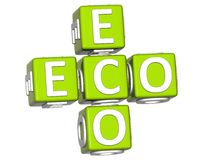 bio Eco texto de 3D no fundo branco Fotos de Stock Royalty Free