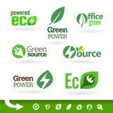 Bio - ecologia - grupo verde do ícone Fotos de Stock Royalty Free