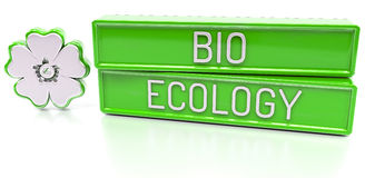 Bio Ecology - 3d banner,  on white background. Bio Ecology - green 3d banner with flower icon,  on white background Stock Image