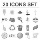 Bio and ecology monochrome icons in set collection for design. An ecologically pure product vector symbol stock web Stock Image