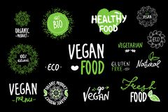 Bio, Ecology, Organic logos and icons, labels, tags. Hand drawn bio healthy food badges, set of raw, vegan, healthy food signs, vector illustration