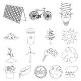 Bio and ecology outline icons in set collection for design. An ecologically pure product vector symbol stock web Stock Images