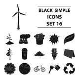 Bio and ecology set icons in black style. Big collection of bio and ecology vector symbol stock illustration Royalty Free Stock Photography