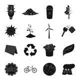 Bio and ecology set icons in black style. Big collection of bio and ecology vector symbol stock illustration Stock Image