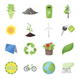 Bio and ecology set icons in cartoon style. Big collection of bio and ecology vector symbol stock illustration Stock Images