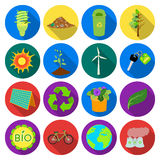 Bio and ecology set icons in flat style. Big collection of bio and ecology vector symbol stock illustration Royalty Free Stock Images