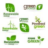 Bio - ekologi - gräsplan - energisymbolsuppsättning Arkivbild