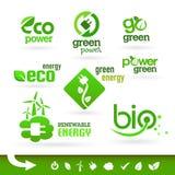 Bio - ekologi - gräsplan - energisymbolsuppsättning Arkivfoto