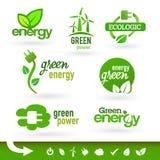Bio - ekologi - gräsplan - energisymbolsuppsättning Fotografering för Bildbyråer