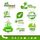 Bio - ekologi - gräsplan - energisymbolsuppsättning Royaltyfri Foto
