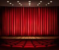 Bio- eller teaterplats med en gardin Royaltyfri Foto