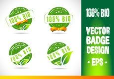 100% Bio emblem Logo Vector stock illustrationer